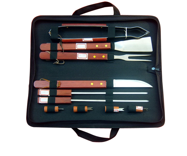 10-piece BBQ Set. Stainless Steel With Hard Wood Handles