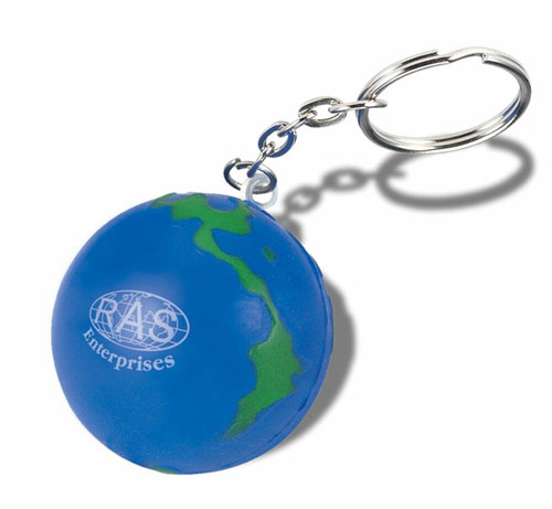 Globe Design Stress Ball With Keychain