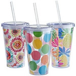16 oz acrylic tumbler with straw