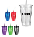 Double wall tumbler with straw