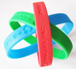 Silicone wristband, 100% silicon, debossed or embossed logo