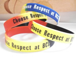 Silicone wristband, 100% silicon, with 1 color logo imprint