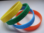 Silicone wristband, Silicon bracelet, 100% silicon, debossed or embossed logo